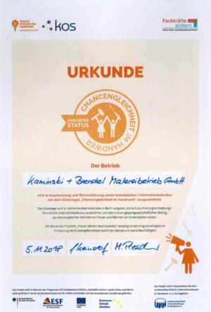 """Kaminski + Brendel Malereibetrieb GmbH unterzeichnet Charta """"Gleichstellung gewinnt – für eine neue Unternehmenskultur in Berlin"""""""