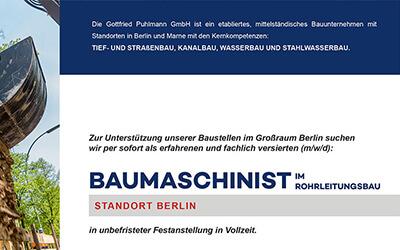 Gottfried Puhlmann: Baumaschinist gesucht