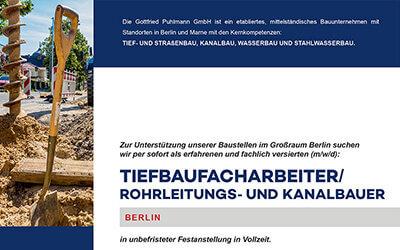 Gottfried Puhlmann: Tiefbaufacharbeiter gesucht